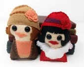 Phryne Fisher  and Dorothy (Dot) Williams  - Miss Fisher's Murder Mysteries plushie  (made to order)