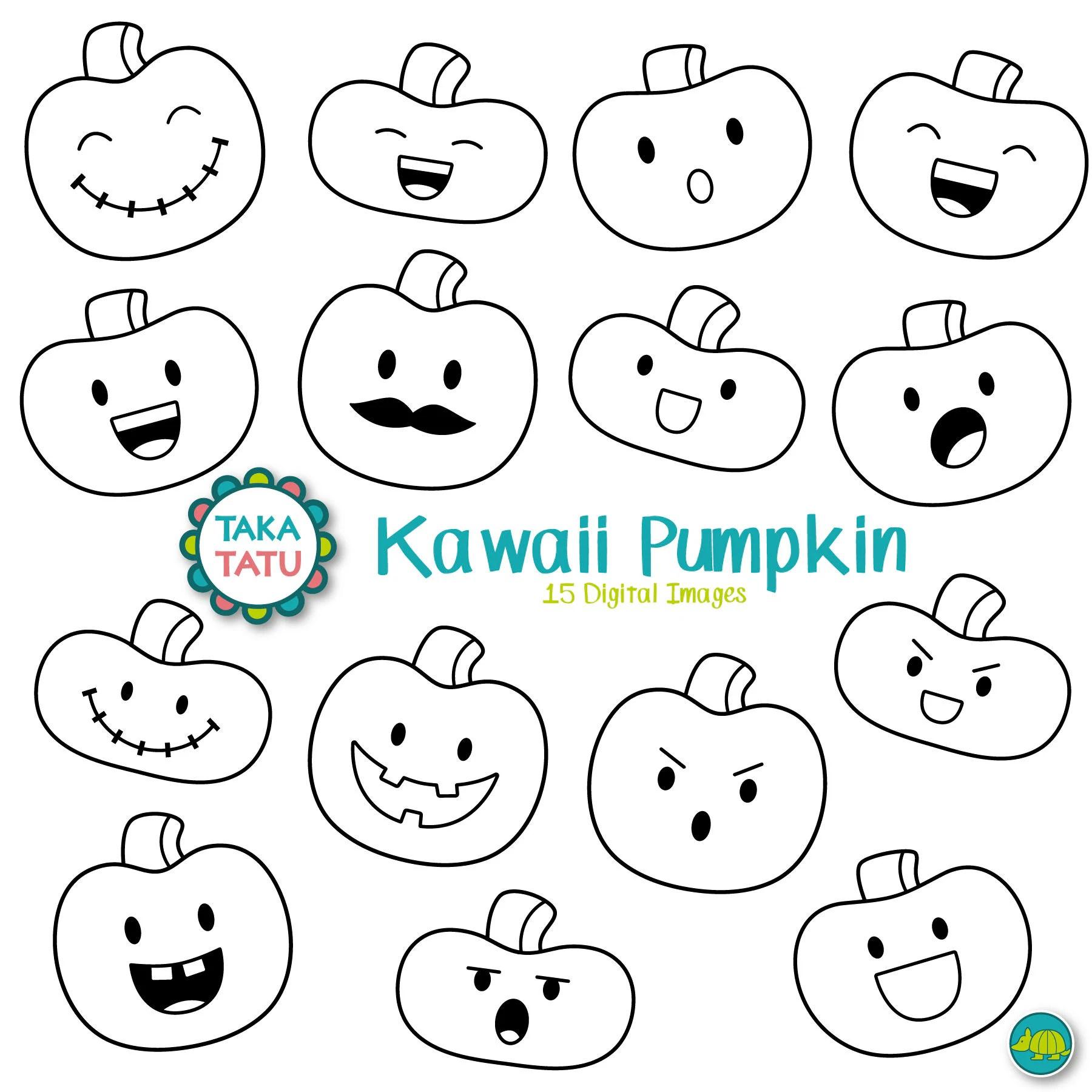 Kawaii Pumpkin Digital Stamp Halloween Pumpkin Clipart