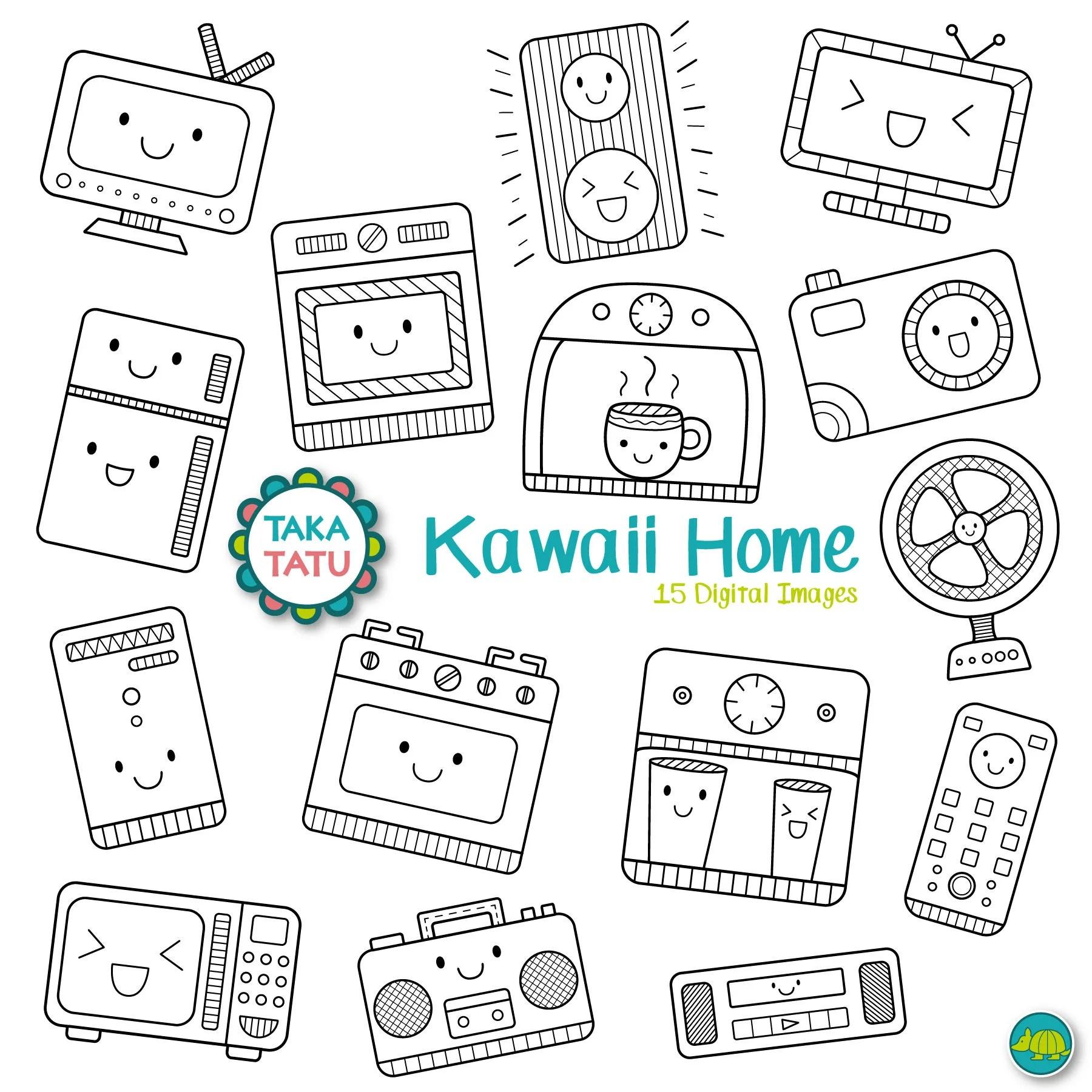 Kawaii Home Digital Stamp Kawaii Home Clipart Home Clip