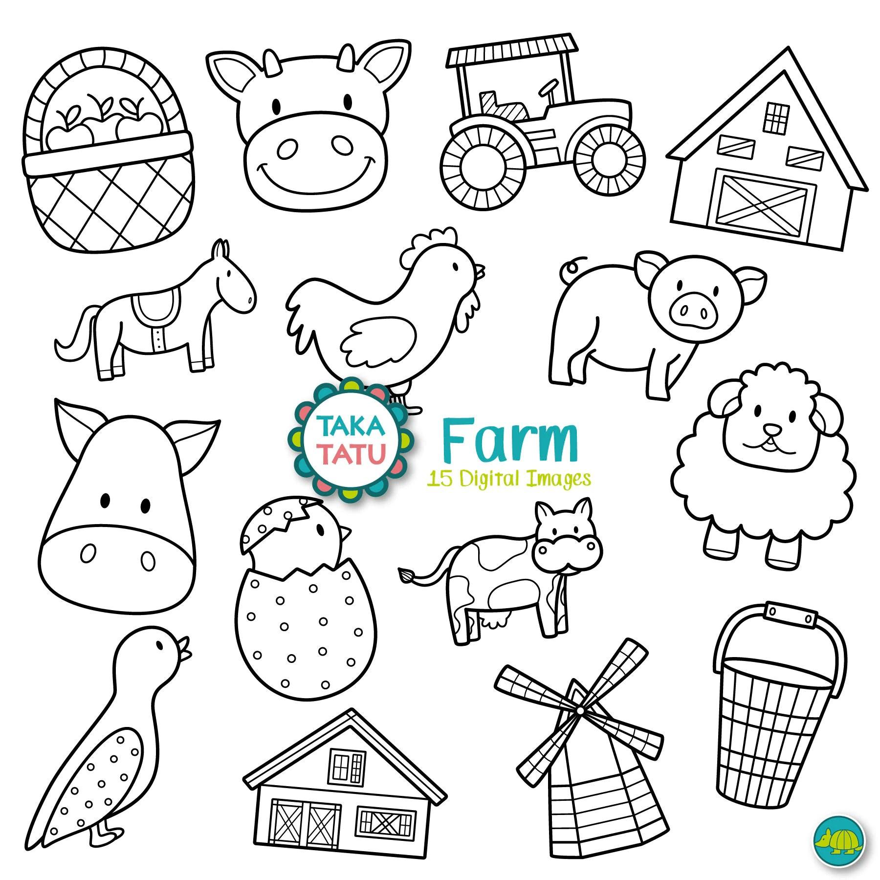 Farm Digital Stamp Farm Clipart Farm Line Art Farm