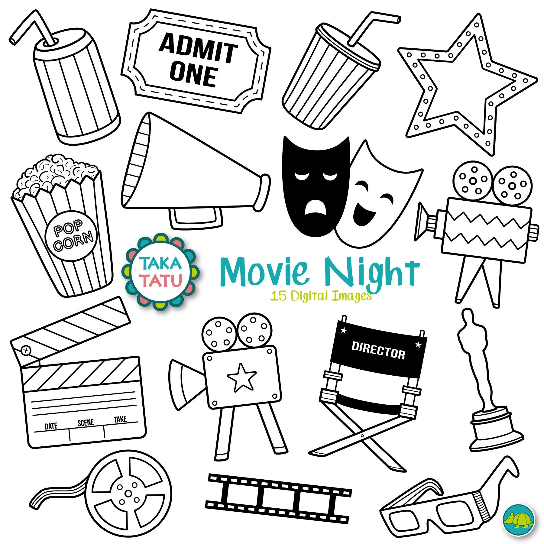 Movies Digital Stamp Movies Clipart Movie Night Movie