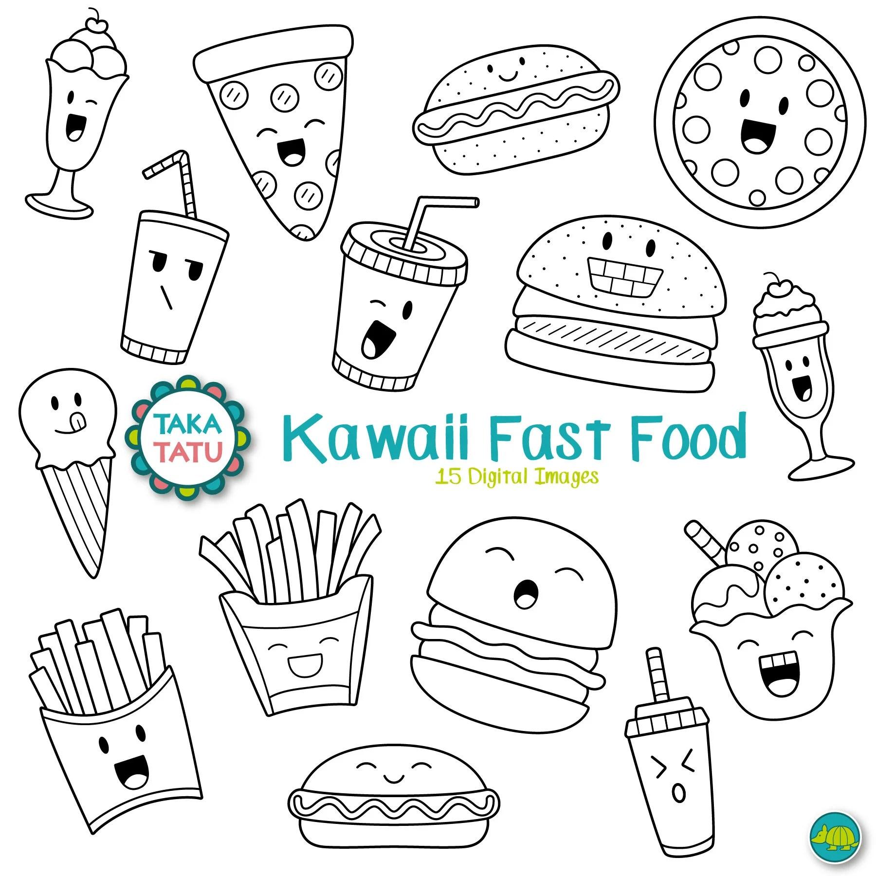 Kawaii Fastfood Digitale Stamp Fastfood Clipart Schattig