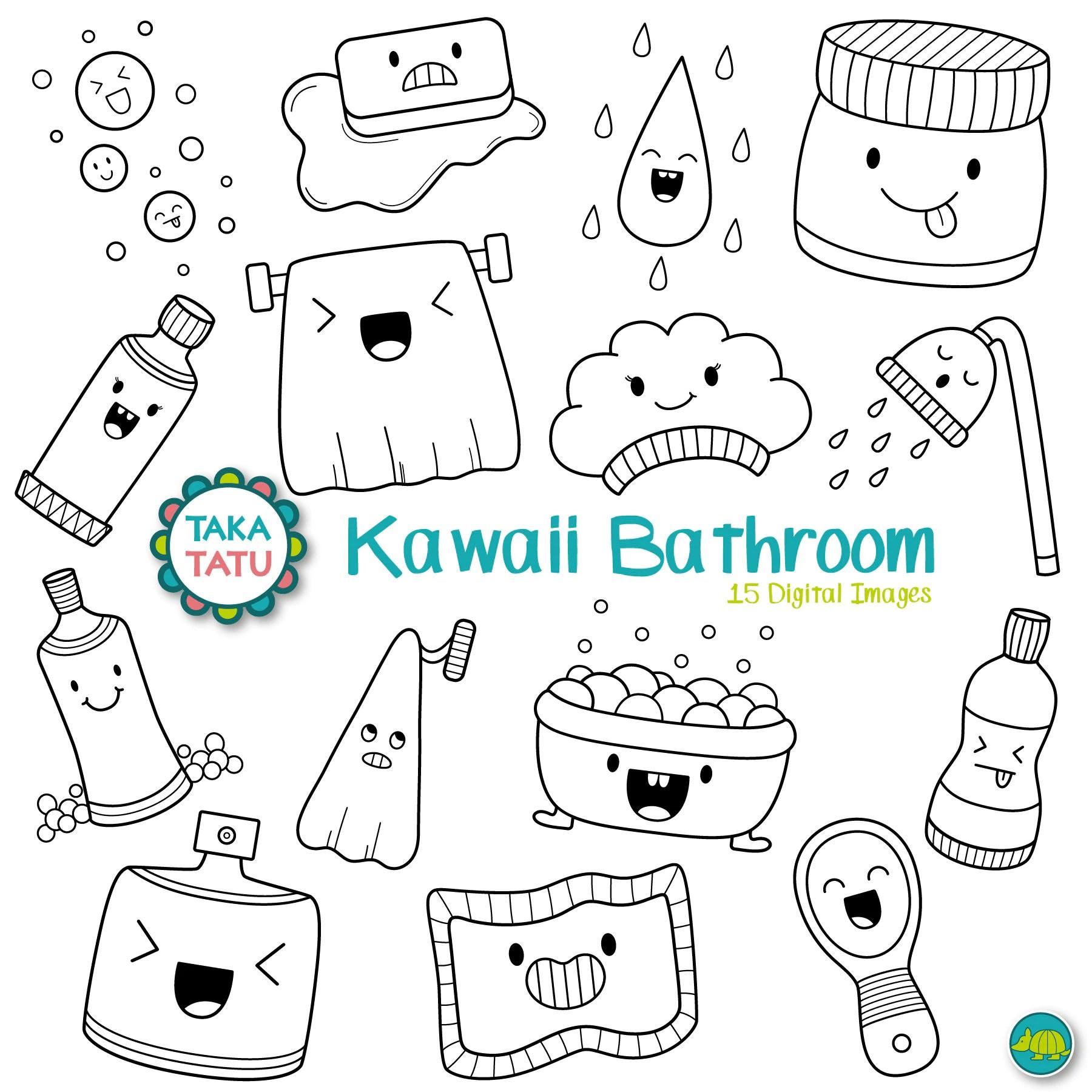 Kawaii Bathroom Digital Stamp Kawaii Bathroom Clipart