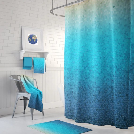 sea glass mosaic shower curtain set blue ombre mosaic style coastal decor shower curtain teal bathroom ideas