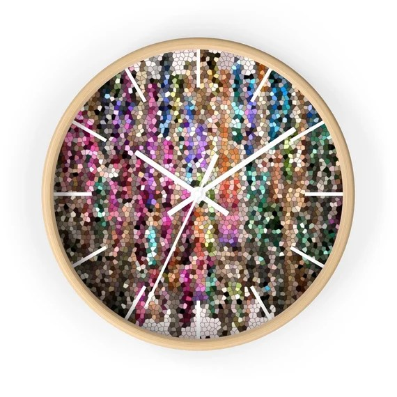Jewel Tone Mosaic Wall Clock