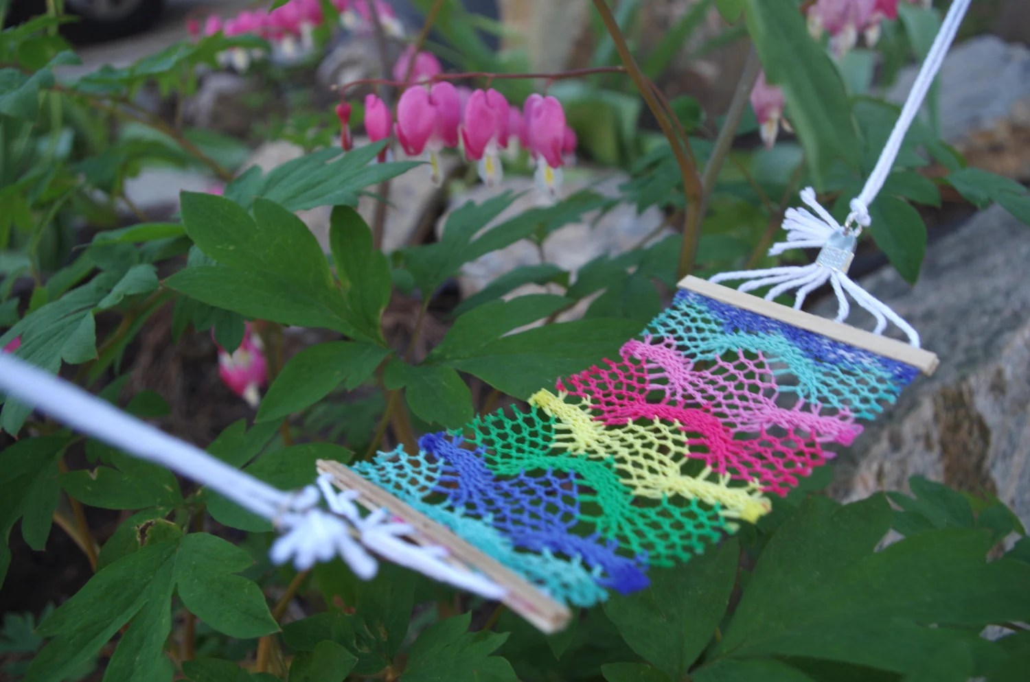 Fairy Garden Rainbow Hammock Crocheted Fabric Miniature
