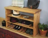 wooden shoe bench, mud room seat, wide bookshelves in pale eco wood, 60H x90Wx29D cm, modern rustic style designed & handmade in Somerset UK