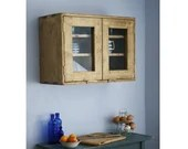 large kitchen wall cabinet, natural light wood, 2 glass doors 3 wide shelves, 50 H x 70 W x 28 D cm, modern rustic farmhouse in Somerset UK