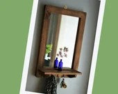 Wooden mirror with shelf & 3 delicate cast iron hooks 76H X 52W cm dark wood hall mirror, salon, bathroom jewellery handmade in Somerset UK