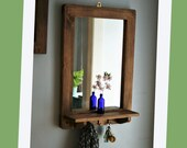 Wooden mirror with shelf & 3 delicate cast iron hooks 76H X 52W cm dark wood hall mirror, salon, bathroom jewellery handmade in Somerset UK