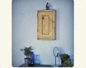 Narrow bathroom wall cabinet in light wood, tall with 3 shelves, single wooden door, medicine cabinet, custom made modern rustic Somerset UK