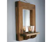 wood mirror with shelf, dark real wood & thick wide natural wood frame, modern rustic farmhouse , custom handmade in Somerset UK