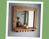 Mirror with shelf & 5 delicate hooks, wide wooden frame sustainable wood, 60W x 60H cm square - handmade modern rustic style from Somerset