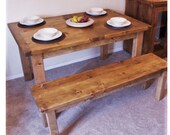Large wooden extendable kitchen & dining table, sustainable natural wood, farmhouse table, custom handmade rustic simplicity in Somerset UK