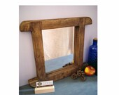 Curved rustic wooden wall mirror, sustainable natural wood frame, cottage farmhouse style hallway, bathroom, bedroom handmade in Somerset UK