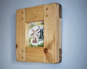 Square wooden picture & photo frame, contemporary light wood, 5 X 5 inch, sustainable natural wood, handmade modern rustic in Somerset UK