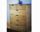 Large chest of drawers, apothecary cabinet, dressing & bedside table, rustic wood, 112.5 H x 90 W cm, 6 drawers, custom handmade in Somerset