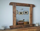 wood wall mirror, curved ...