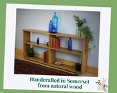 NOT free delivery ** Long, low wooden book shelf in natural wood, eco fallen real Oak 62 H x 143 W x 22 D cm, modern rustic from Somerset UK