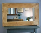 large wall mirror, pale wooden frame, thick wood frame 100 x 60 cm, custom handmade modern rustic eco farmhouse style from Somerset UK