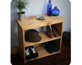 wooden shoe bench & rack, small low bookshelf 65Wx60Hx29Dcm in eco wood, chunky hall table style top - modern rustic handmade in Somerset UK