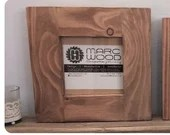 small wood picture and photo frame, square 6 X 6 inch, thick light wood frame, eco wood, handmade modern rustic frames from Somerset UK
