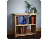 wooden bookshelf, low bookcase or shelves 65W x 60H x 29D cm in eco wood, chunky table style top - modern rustic handmade in Somerset UK