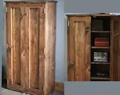 Tall rustic wooden cabinet, linen cupboard, dark wood, bookshelves with doors, 130Hx65Wx35.5Dcm natural wood, Somerset UK *Not free delivery