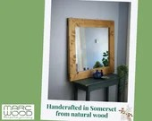 Large wooden wall mirror, natural pale rustic wood, wide frame, 100 x 90 cm, custom handmade sustainable modern farmhouse style, Somerset UK
