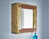 decorative bathroom cabinet in contrasting wood, eco real wood, large door mirror, 3 shelves, custom, modern rustic industrial, Somerset UK