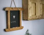 chunky wood chalkboard, t...
