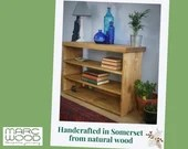 NOT free delivery** Hall table in natural wood, chunky modern rustic bookshelves  90 wide x 60 high x 29 deep cm handmade in Somerset UK