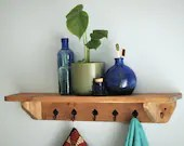 Bathroom wall shelf with cast iron metal hooks, natural wood, 70 long x 15 deep cm, industrial rustic farmhouse storage, made in Somerset UK