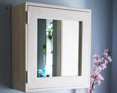 White bathroom mirror cabinet 56Hx54Wx18D cm, large white bathroom vanity with 3 shelves, rustic simplicity custom handmade in Somerset UK