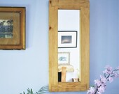 wall mirror in pale eco rustic wood, thick wood frame, tall & narrow 69 x 31 cm, modern country farmhouse   - custom handmade in Somerset UK