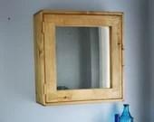 large wooden bathroom mirror cabinet, 56Hx54Wx18D cm, natural wood, medicine cabinet, 3 shelves, custom handmade modern rustic Somerset UK