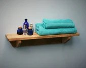 wood wall shelf for your bathroom 62 cm long x 15 cm deep - custom sizes - modern rustic farmhouse style designed & handmade in Somerset UK