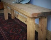 wooden bench seat, kitchen dining bench, 160 cm long, natural wood, chunky modern rustic farmhouse style, custom handmade in Somerset UK