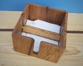 wood napkin holder in premium eco 'fallen' Oak; for large (8 inch, 20cm) square serviette, modern rustic dining accessories, handmade in UK