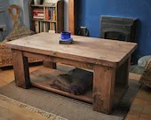 Large coffee table in natural sustainable wood, dark oil finish, long magazine shelf, modern rustic farmhouse, custom handmade Somerset UK