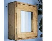 Bathroom wall cabinet, medicine mirror cabinet in natural light wood, small door mirror 43.5H x 38.5W x14D cm, modern rustic custom made UK