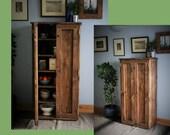 kitchen cabinet & pantry larder cupboard, dark wood, 6 shelves, kitchen storage 130H X 65W x 35.5D cm, sustainable natural wood, Somerset UK