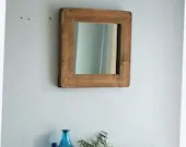 Square wooden wall mirror with chunky rustic frame in natural wood, small hallway, bathroom, bedroom mirror, custom handmade in Somerset UK
