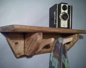 wooden shelf with hooks, 2 wooden hanger coat hooks set below a sustainable natural light rustic wood shelf, custom handmade in Somerset