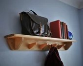 wood wall shelf with hooks, hallway & porch, 90 cm long, 4 recycled hanger coat hooks, eco natural wood, modern rustic handmade Somerset