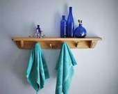 Long wood bathroom wall shelf with hooks, 90 cm, 4 up cycled towel hooks, real wood shelf, modern rustic eco farmhouse, from Somerset UK