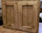 wood wall cabinet kitchen & bathroom light sustainable natural wood, 2 doors, 3 shelves, modern rustic farmhouse custom handmade in Somerset