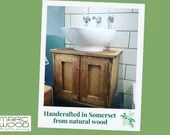 wooden bathroom sink stand, floating cabinet, modern rustic, 37.5H x 50W x 38D cm, double doors, natural wood - custom handmade Somerset UK