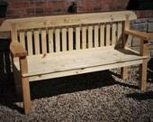 garden bench seat with wide arms, sustainable natural wood, rustic country cottage outdoor garden furniture, custom handmade in Somerset UK