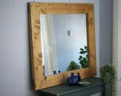 large wooden wall mirror,...